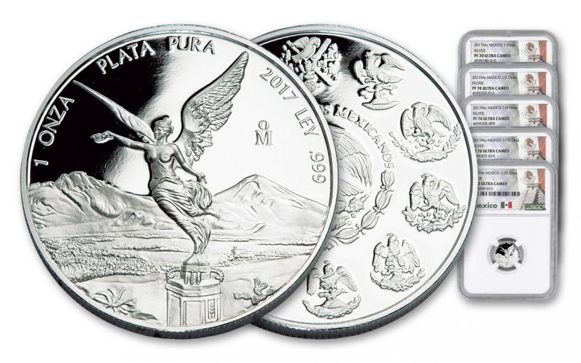 2017 Mexico Silver Libertad NGC PF70- 5 Piece
