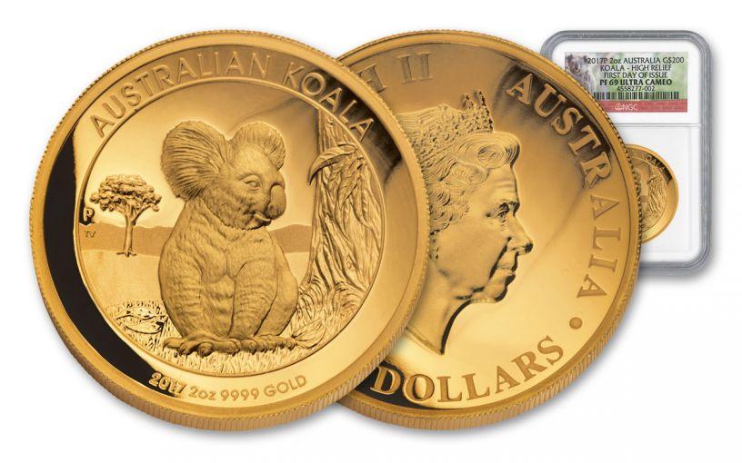 2017 Australia 200 Dollar 2-oz Gold Koala HR NGC PF69 FDI