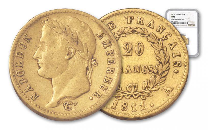 1811-A France 20 Franc Napoleon Rive D' I NGC XF40