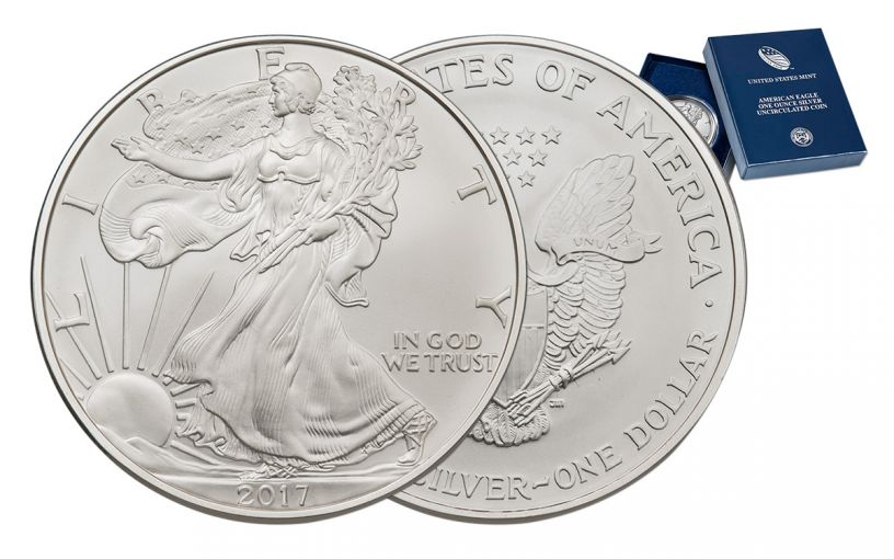 2017-W 1 Dollar 1-oz Burnished Silver Eagle Gem BU with OGP