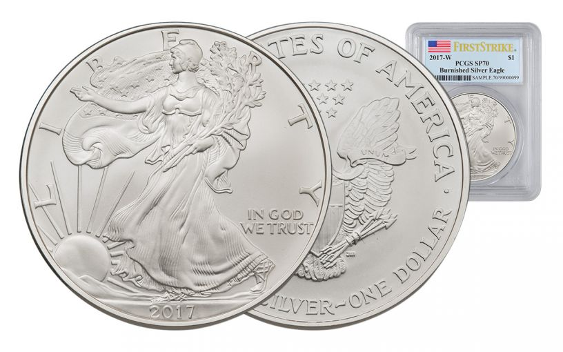 2017-W 1 Dollar 1-oz Burnished Silver Eagle PCGS SP70 First Strike Flag Label