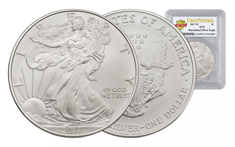 2017-W 1 Dollar 1-oz Burnished Silver Eagle PCGS SP70 First Strike 225th Anniversary