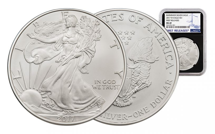 2017-W 1 Dollar 1-oz Burnished Silver Eagle NGC MS69 First Releases - Black