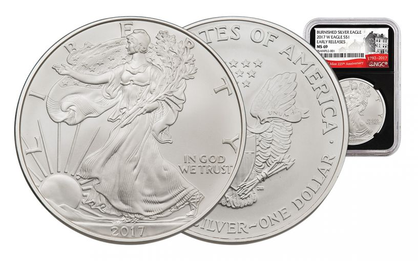 2017-W 1 Dollar 1-oz Burnished Silver Eagle NGC MS69 Early Release 225th Anniversary - Black