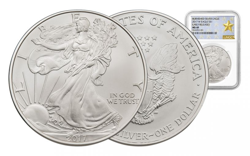 2017-W 1 Dollar 1-oz Burnished Silver Eagle NGC MS69 Early Release Gold Star Label