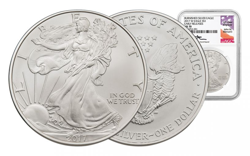2017-W 1 Dollar 1-oz Burnished Silver Eagle NGC MS70 Mercanti Early Release
