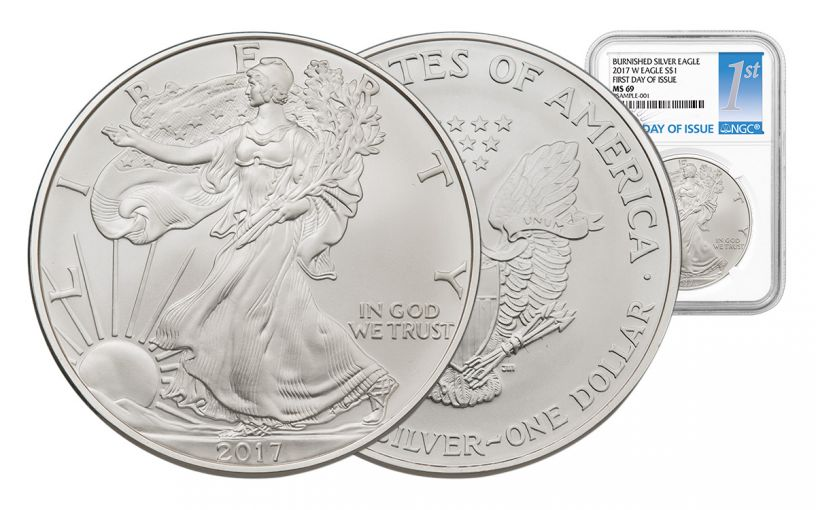 2017-W 1 Dollar 1-oz Burnished Silver Eagle NGC MS69 First Day Of Issue