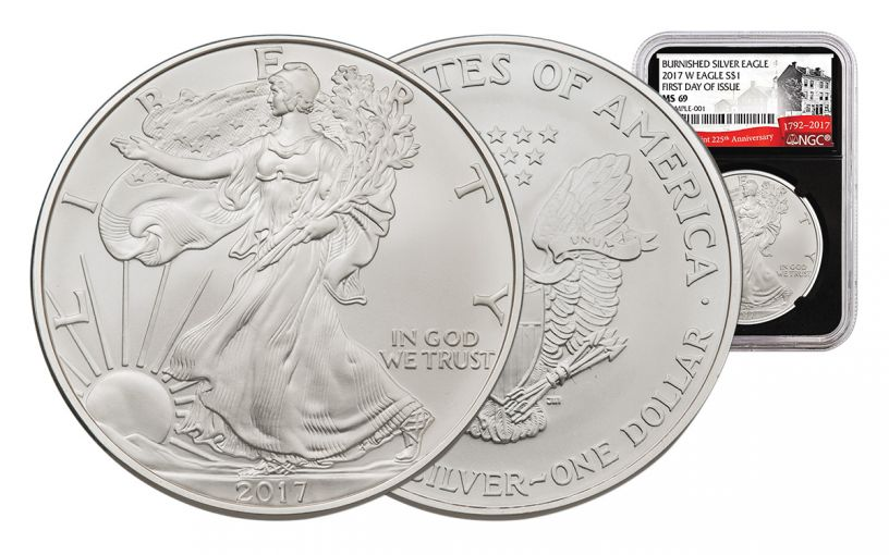 2017-W 1 Dollar 1-oz Burnished Silver Eagle NGC MS69 First Day Of Issue 225th Anniversary - Black