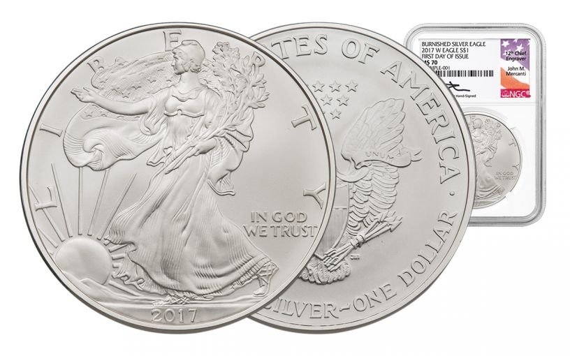 2017-W 1 Dollar 1-oz Burnished Silver Eagle NGC MS70 FDI Mercanti