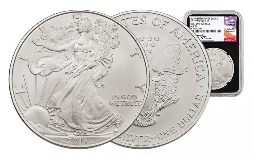 2017-W 1 Dollar 1-oz Burnished Silver Eagle NGC MS70 FDI BC Mercanti