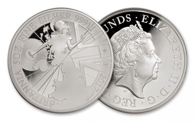 2017 Great Britain 10 Pound 5-oz Silver Britannia Proof