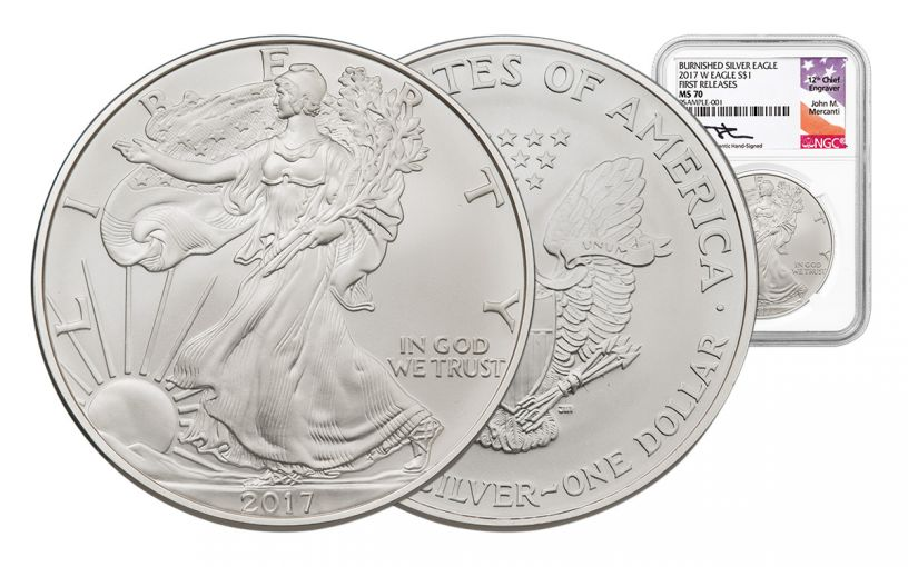 2017-W 1 Dollar 1-oz Burnished Silver Eagle NGC MS70 FR Mercanti