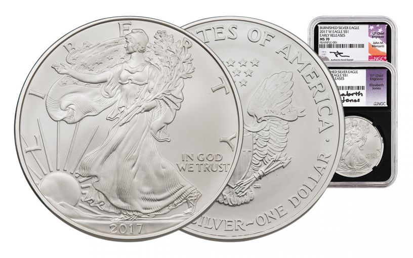 2017-W 1 Dollar 1-oz Burnished Silver Eagle NGC MS70 Early Release Mercanti - Jones - Black 2pc Set