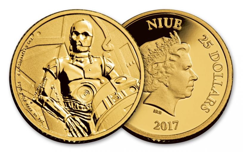 2017 Niue 25 Dollar 1/4-oz Gold Star Wars Classic C-3PO Proof