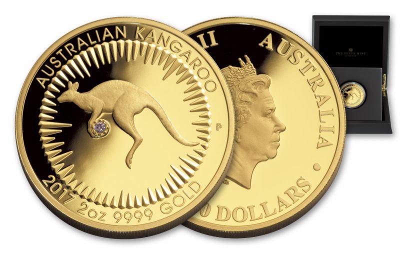 2017 Australia 500 Dollar 2-oz Gold Kangaroo Pink Diamond OGP