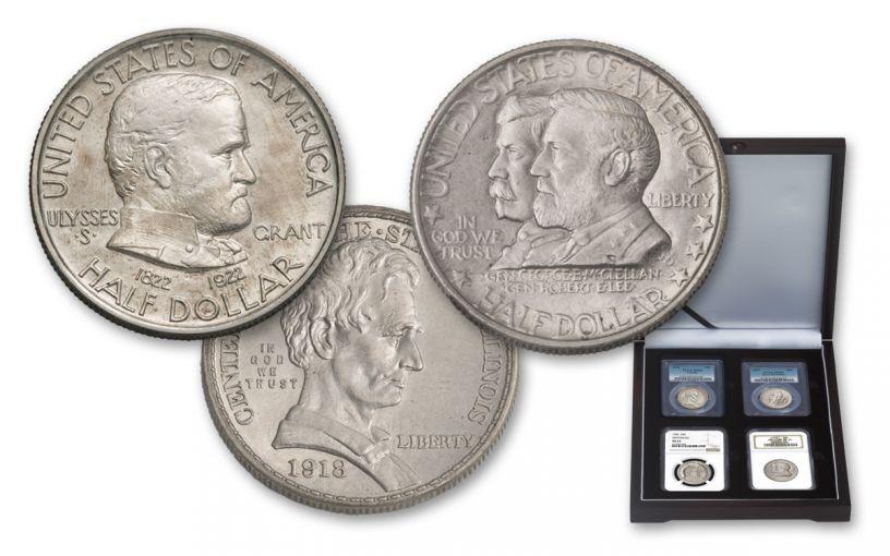 1918-1937 50 Cent Cilvil War NCG/PCGS MS65-66 4pc Set