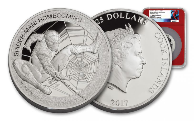 2017 Cook Islands 25 Dollar 5-oz Silver Spider-Man NGC PF70UCAM- Mercanti Designed- First Release