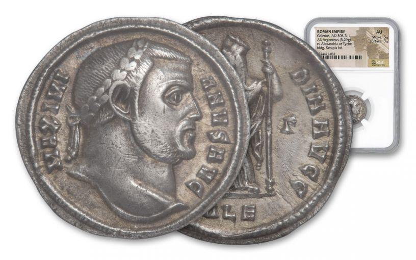 305-311 AD Roman Silver Argenteus Coin of Galerius NGC AU