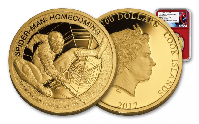 2017 Cook Islands 200 Dollar 1-oz Gold Spider-Man NGC PF70UCAM- Mercanti Designed- First Release