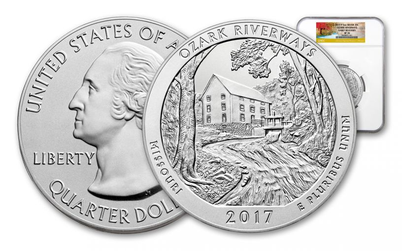 2017-P 25 Cent 5-oz Silver America the Beautiful Ozark National Scenic Riverways NGC SP70 ER