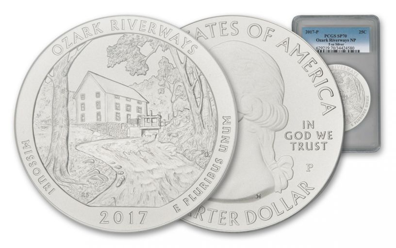 2017-P 25 Cent 5-oz Silver America the Beautiful Ozark National Scenic Riverways PCGS SP70