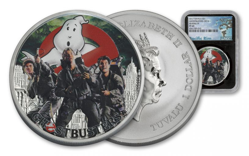 2017 Tuvalu 1 Dollar 1-oz Silver Ghostbusters Crew NGC PF69