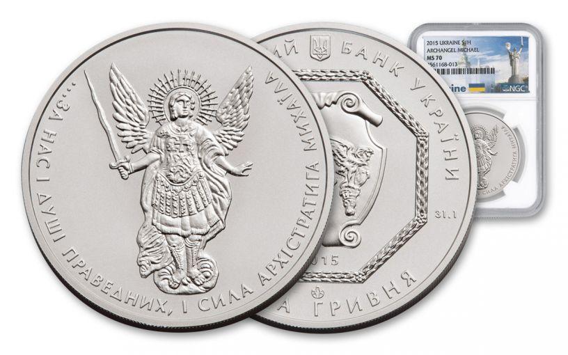 2015 Ukraine 1-oz Silver Archangel Michael NGC MS70
