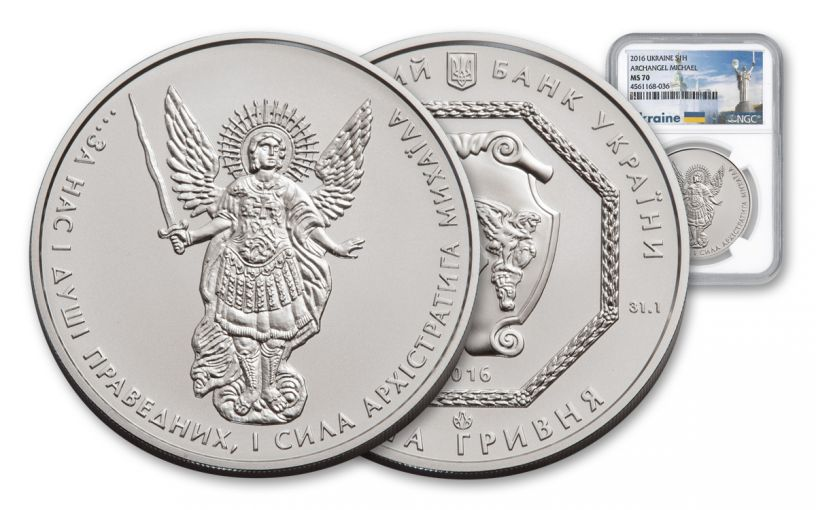 2016 Ukraine 1-oz Silver Archangel NGC MS70