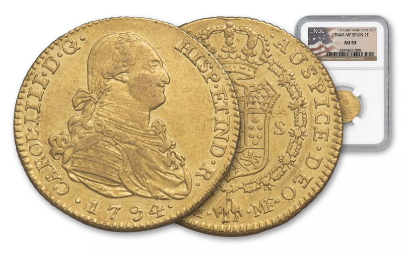 1789-1797 Spain 2 Escudos Gold George Washington Ten Legal NGC AU