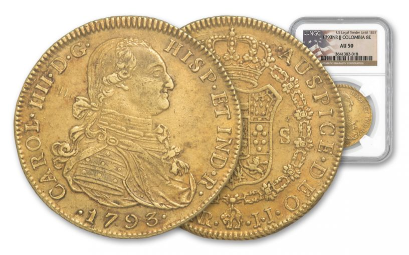 1789-1797 Spain 8 Escudos Gold George Washington Ten NGC AU
