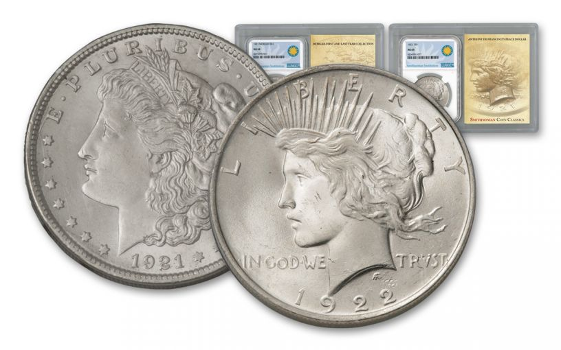 1921-1922-P Morgan & Peace Silver Dollars NGC MS64 Smithsonian Classics 2pc Set