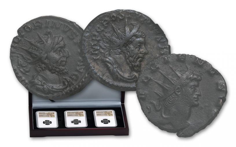 253-271 AD Roman Bronze South Petherton Hoard NGC Choice XF 3pc set