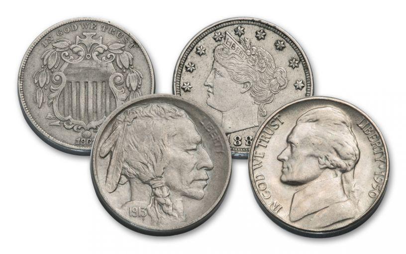 1866-1950 U.S. 5 Cent Nickel Type Set 4-pc Collection