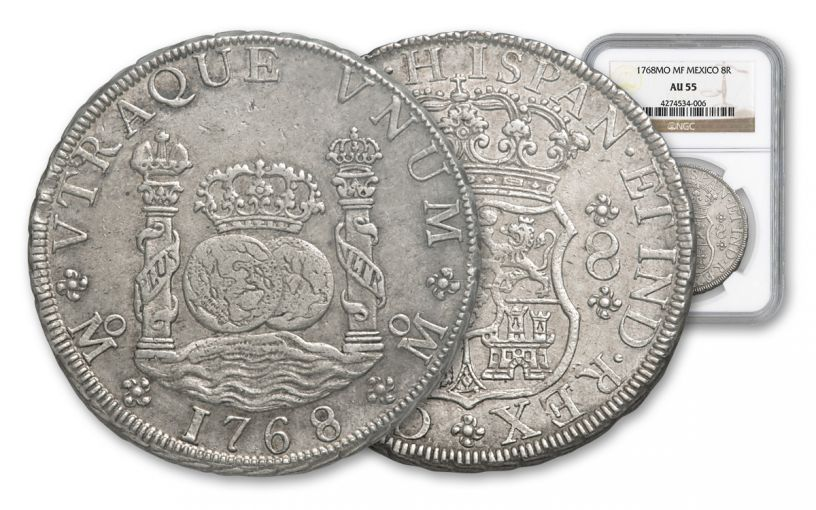 1735-1771 Spain 8 Reales Silver Pillar NGC AU