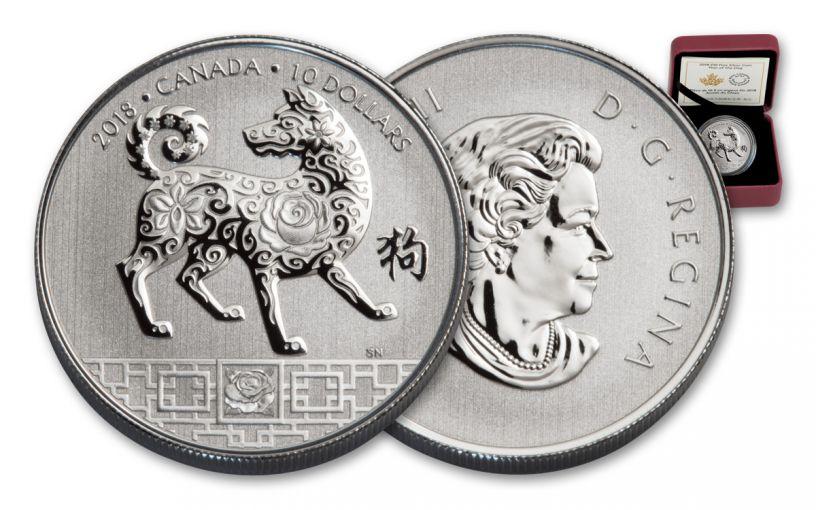 2018 Canada 10 Dollar 1/2-oz Silver Year Of The Dog Specimen