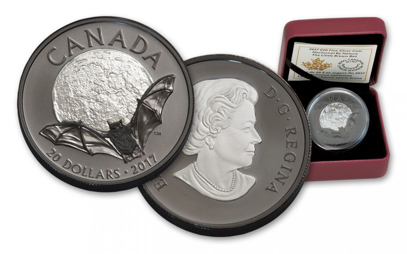 2017 Canada 20 Dollar 1-oz Silver Brown Bat-Nocturnal Nature Proof