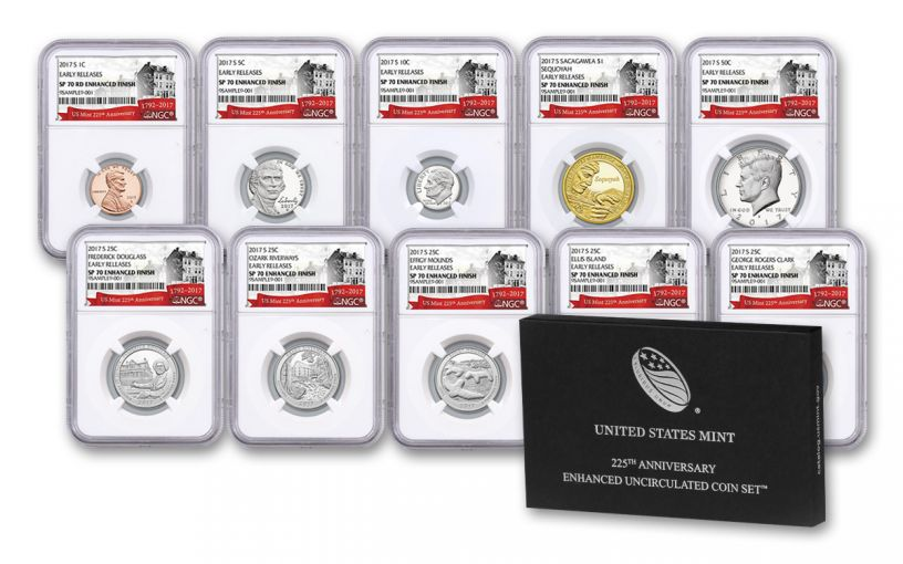 2017 U.S. Mint 225th Anniversary Enhanced Uncirculated Coin Set NGC SP70 Early Release