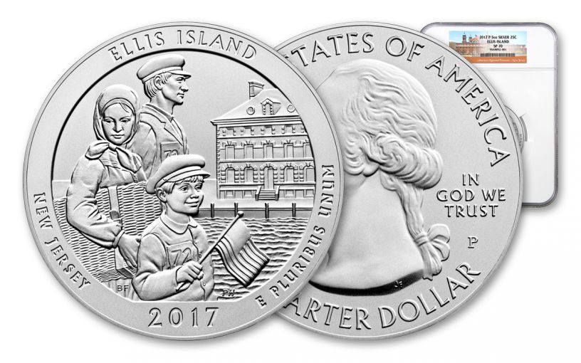 2017-P 25 Cent 5-oz Silver America The Beautiful Ellis Island NGC SP70