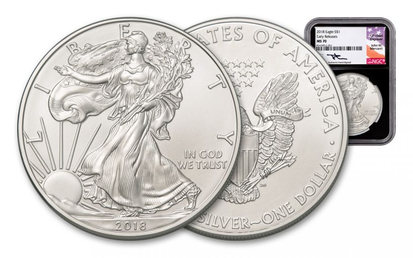 2018 1 Dollar 1-oz Silver Eagle NGC MS70 Early Releases Mercanti Signed - Black