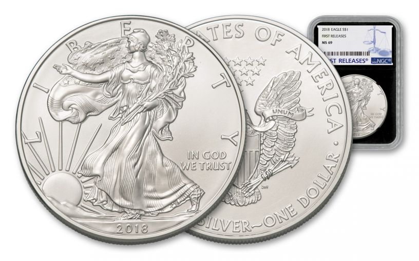 2018 1 Dollar 1-oz Silver Eagle NGC MS69 First Releases - Black