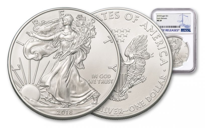 2018 1 Dollar 1-oz Silver Eagle NGC MS69 Early Releases