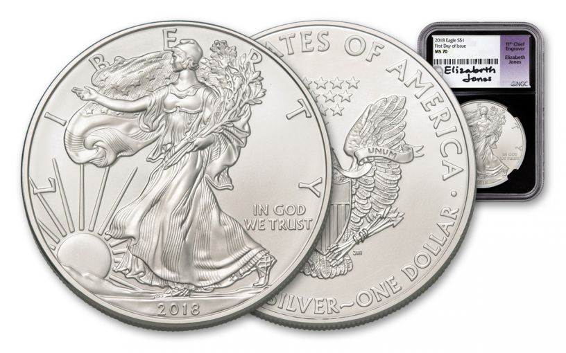 2018 1 Dollar 1-oz Silver Eagle NGC MS70 First Day Of Issue Jones Signed - Black