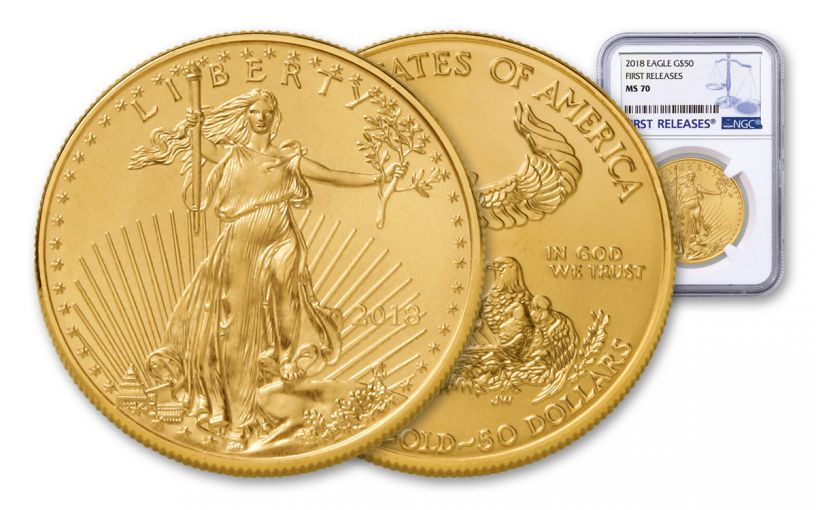 2018 50 Dollar 1-oz Gold Eagle NGC MS70 First Releases