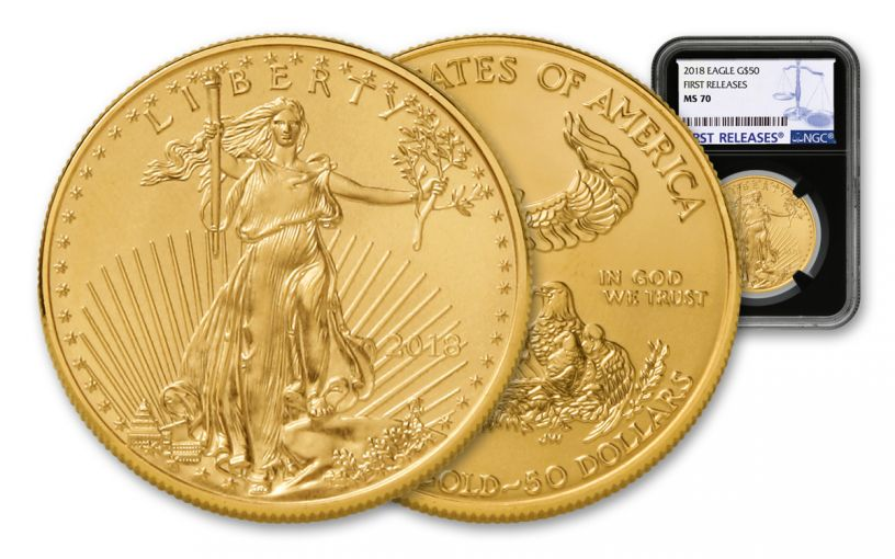 2018 50 Dollar 1-oz Gold Eagle NGC MS70 First Releases - Black