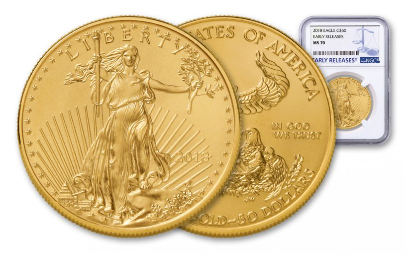2018 50 Dollar 1-oz Gold Eagle NGC MS70 Early Releases