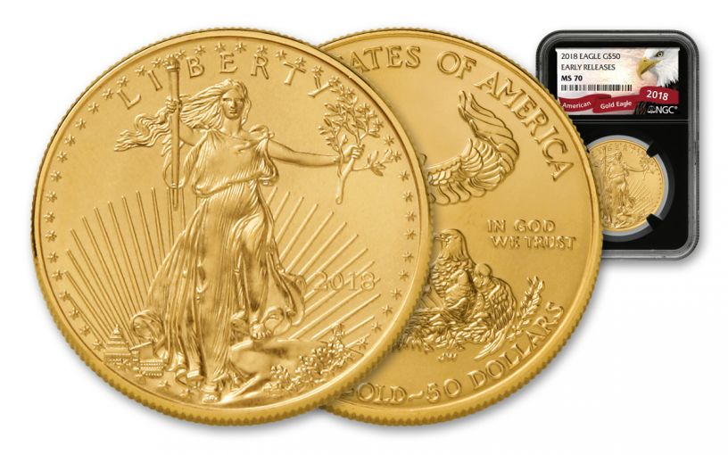 2018 50 Dollar 1-oz Gold Eagle NGC MS70 Early Releases Eagle Label - Black