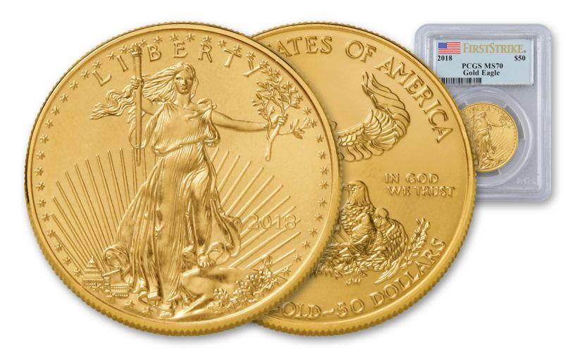 2018 50 Dollar 1-oz Gold Eagle PCGS MS70 First Strike Flag Label