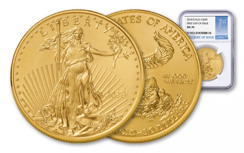 2018 50 Dollar 1-oz Gold Eagle NGC MS70 First Day Of Issue Silver Label