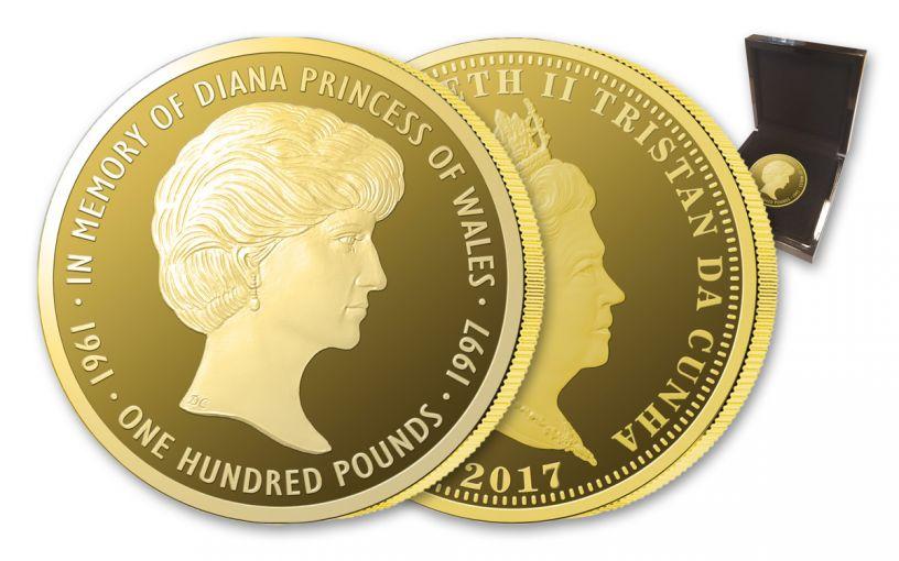 2017 Tristan Da Cuhna 100 Pound 1-oz Gold Princess Diana Ultra-High Relief Proof
