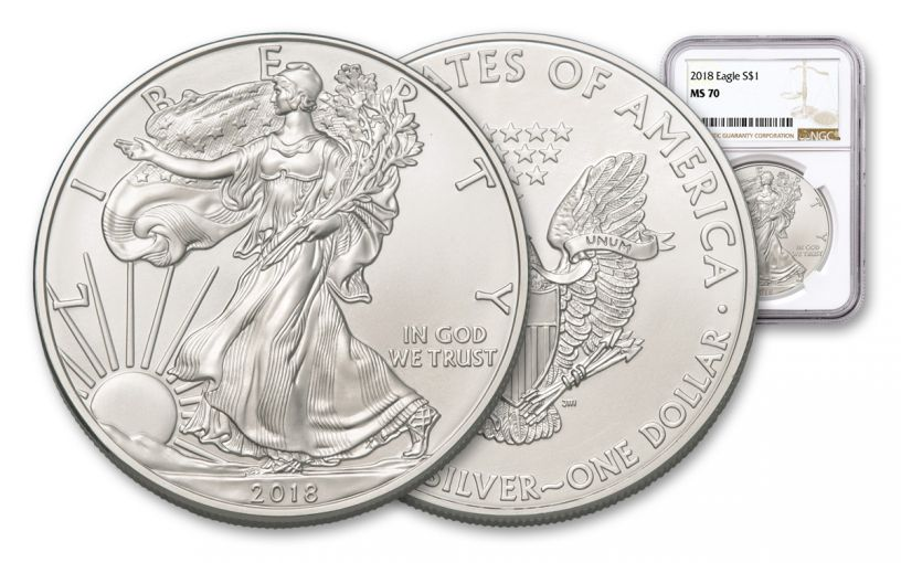 2018 1 Dollar 1-oz Silver Eagle NGC MS70 Brown Label